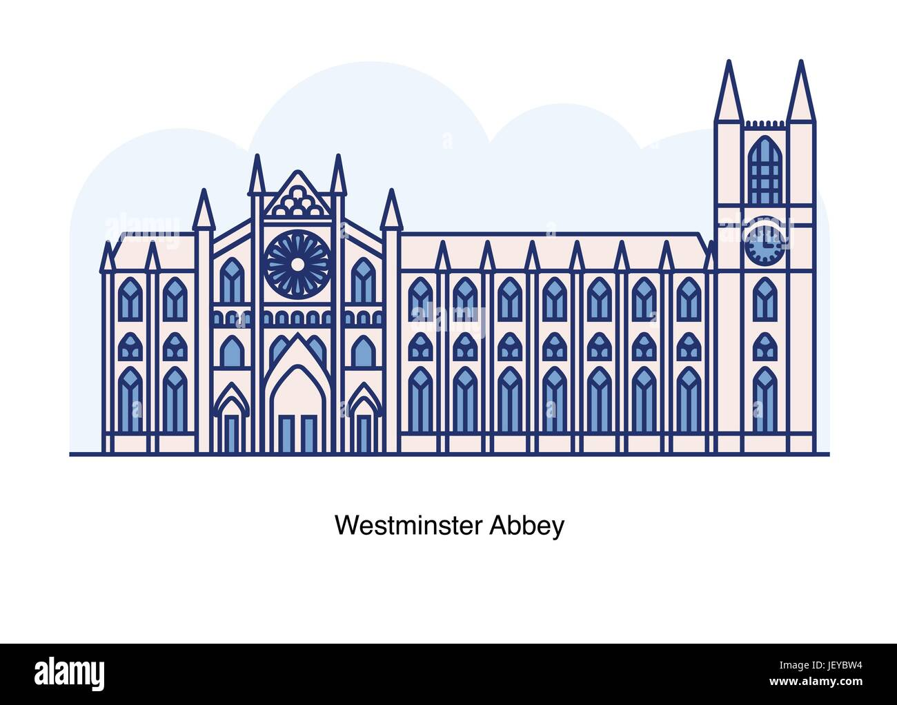 Vector line illustration of Westminster Abbey, London, England. - Stock Image