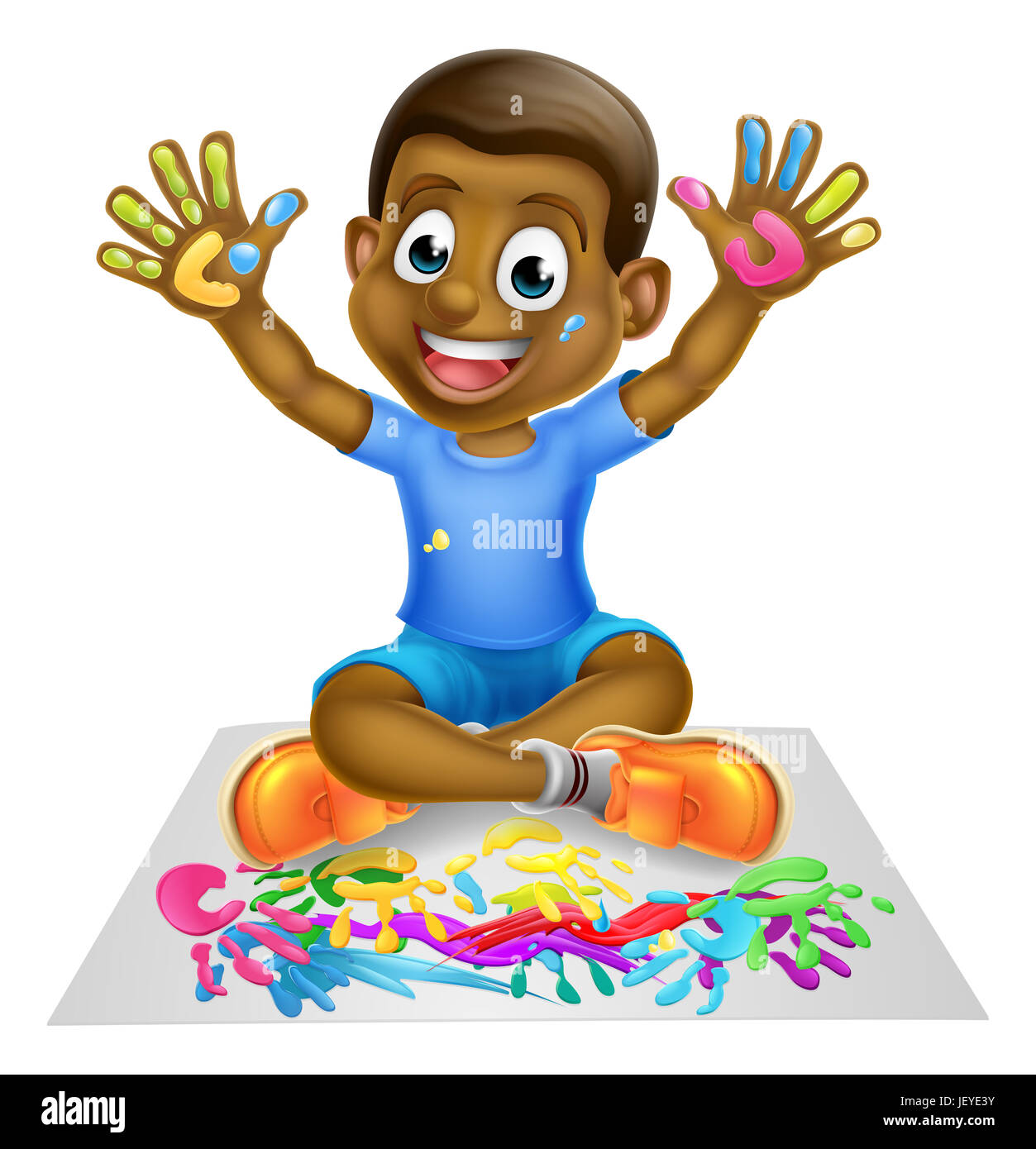A happy cartoon little boy enjoying being creative having messy play with paint - Stock Image
