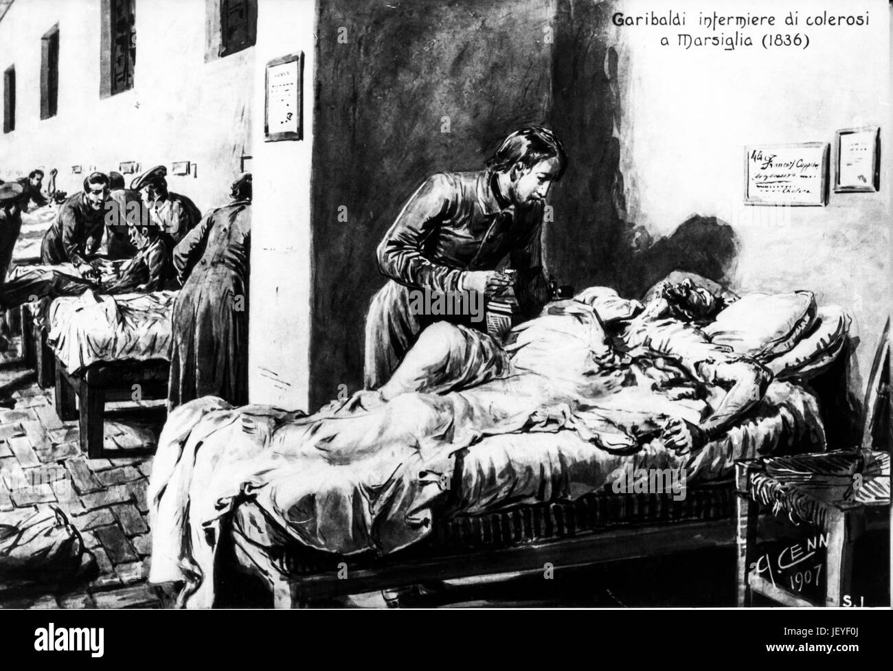 Giuseppe garibaldi nursing colonists in marsiglia, 1836 - Stock Image