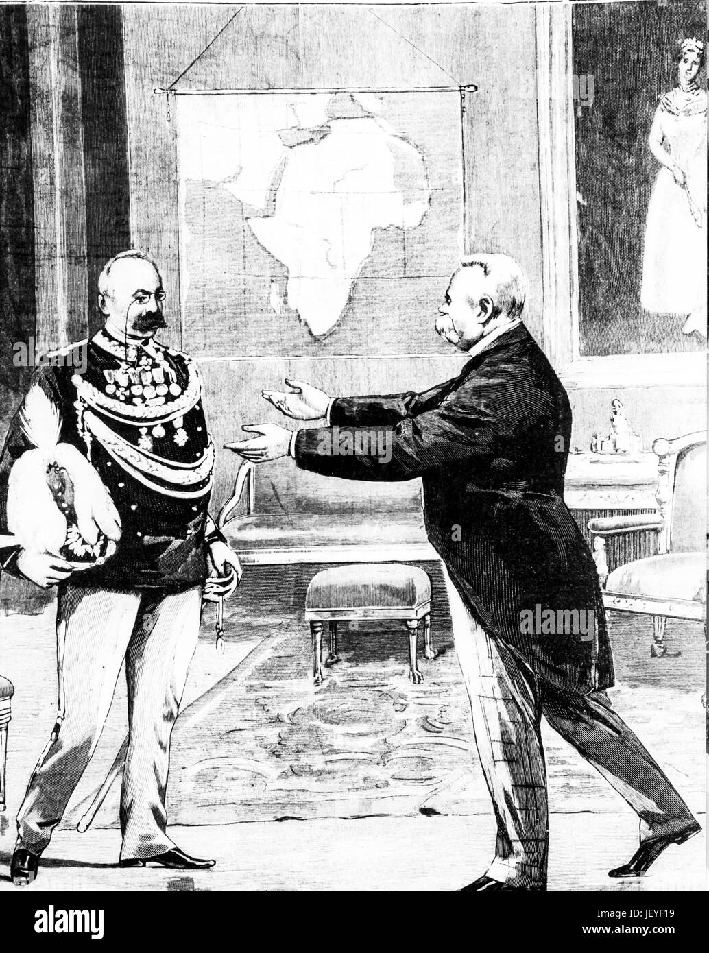 General oreste baratieri received by Umberto I of Savoy, 1895 - Stock Image