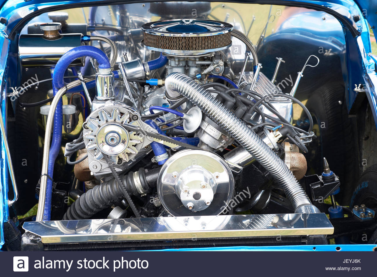 Close-up of a Hot Rod engine at the 2017 Haynes village 100 motor show, Haynes, Bedfordshire, UK. Stock Photo