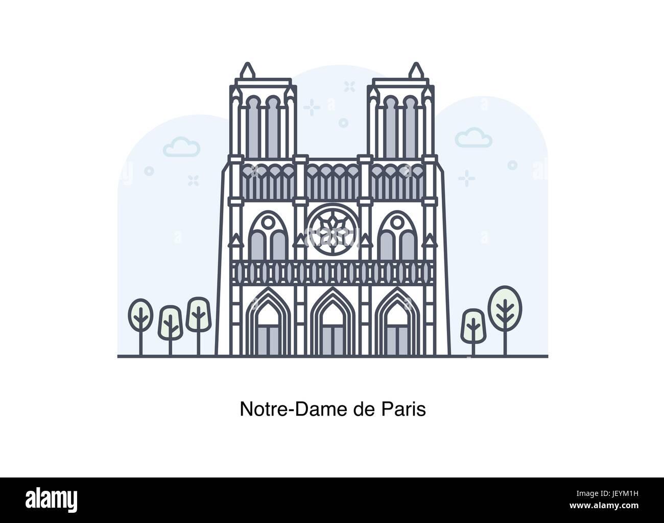 Vector line illustration of Notre-Dame de Paris, France. - Stock Image