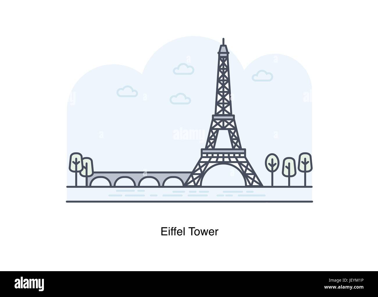 Vector line illustration of Eiffel Tower, Paris, France. - Stock Vector