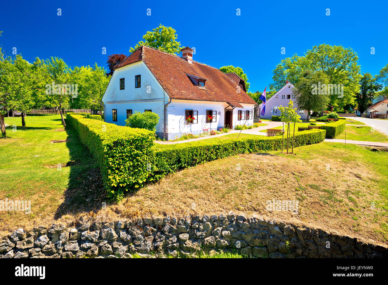 Village of Kumrovec and Josip Broz Tito birth house view, Zagorje region of Croatia Stock Photo
