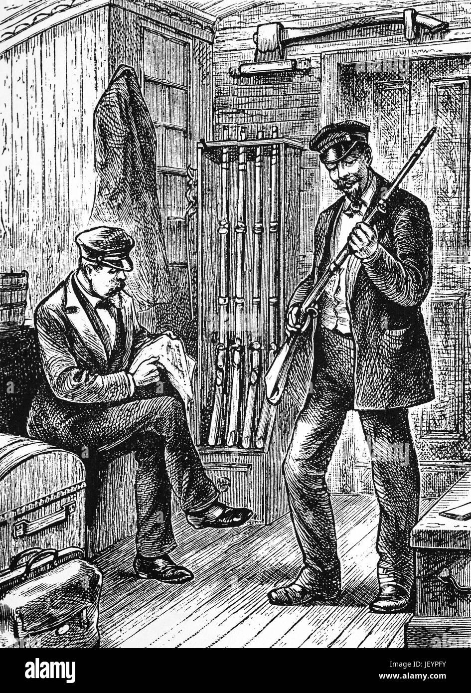 1879: The baggage master's armoury on the train to Atlanta, Georgia, United States of America - Stock Image