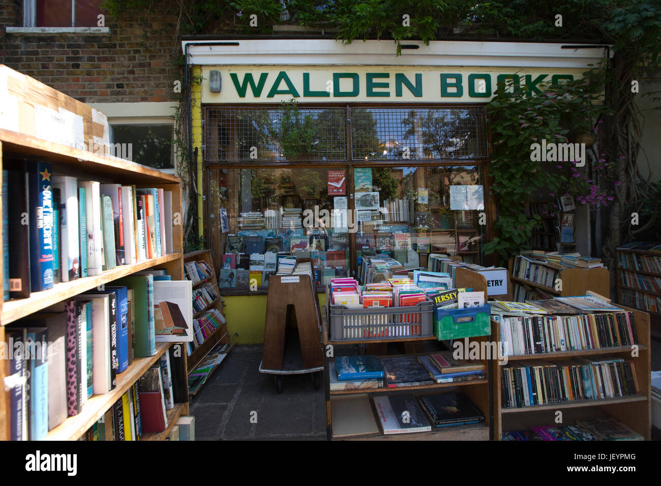 Walden Books, second hand bookshop on a quiet residential Camden backstreet, Harmood Street, Camden, London, UK - Stock Image