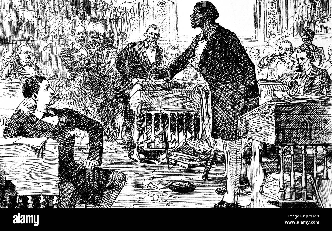 1879: Discussions in a Southern Parliament, in the old St Louis Hotel in the French Quarter, New Orleans, Louisiana, - Stock Image