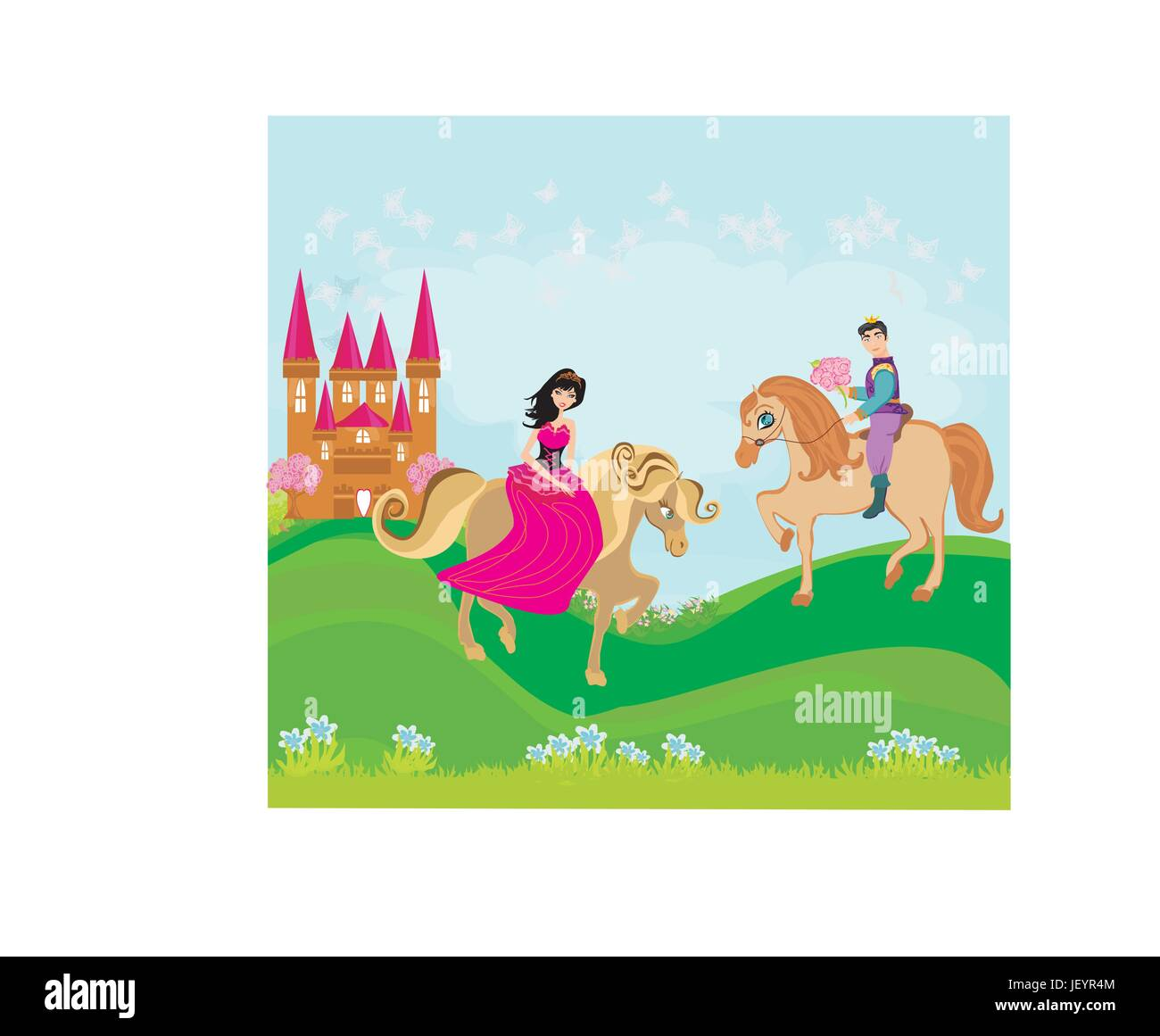 woman, tower, beautiful, beauteously, nice, lady, female, famous, horse, - Stock Vector
