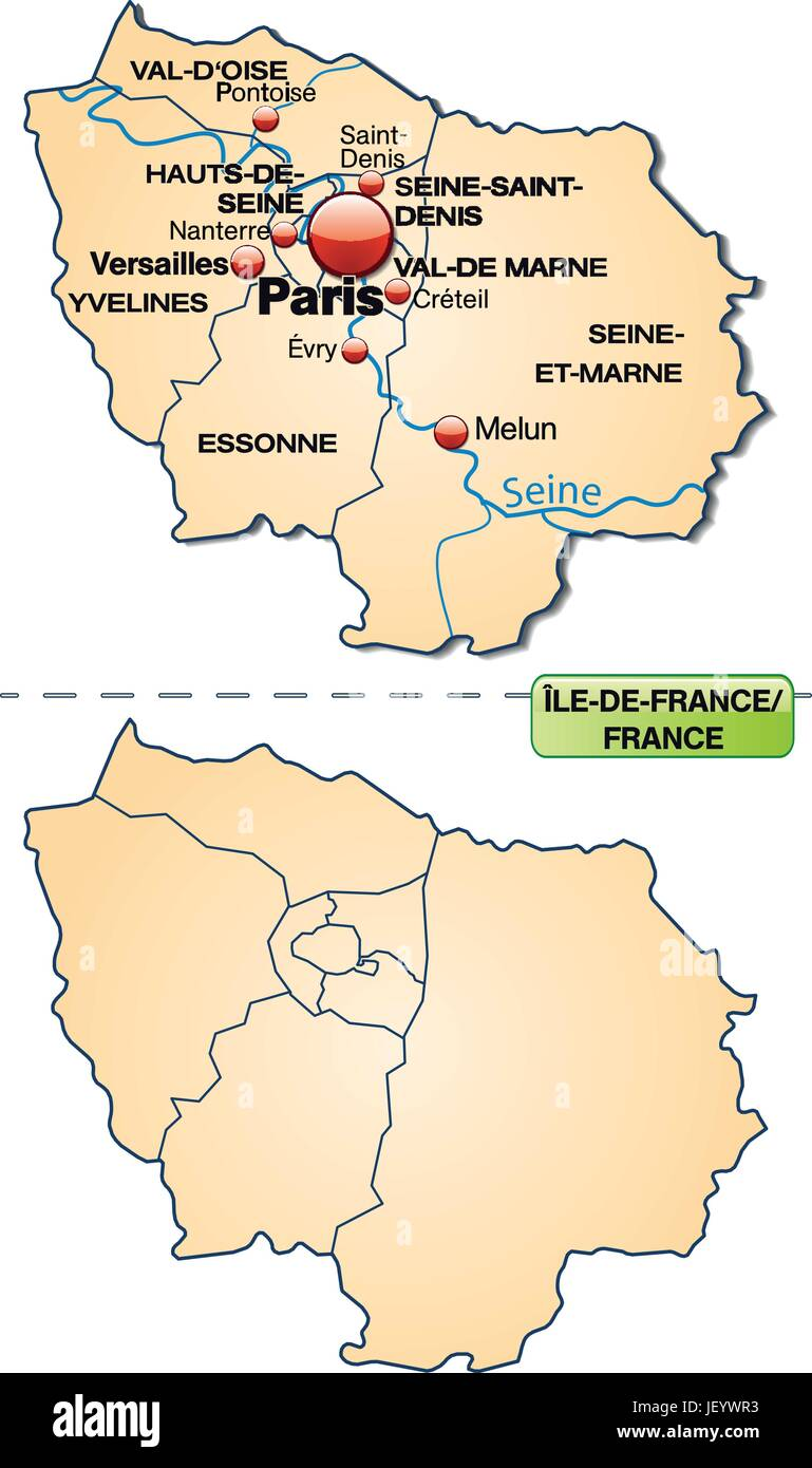 Map Of Yvelines France.Map Of Ile De France With Borders In Pastel Orange Stock Vector Art