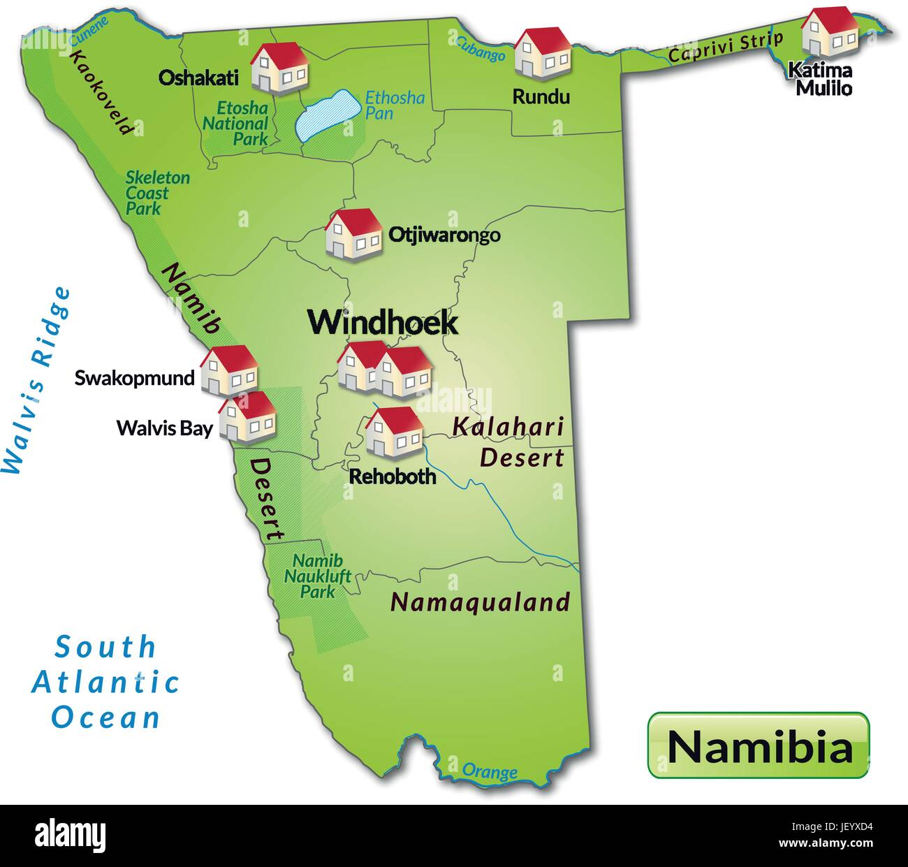 Namibia Card Outline Borders Atlas Map Of The World Map