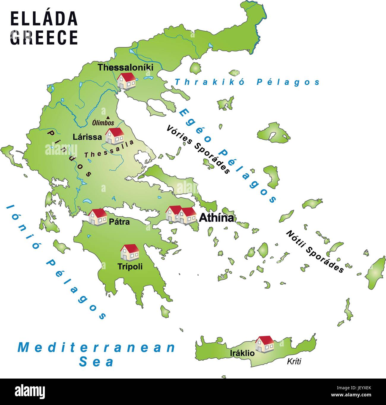 greece, card, outline, borders, atlas, map of the world, map ...