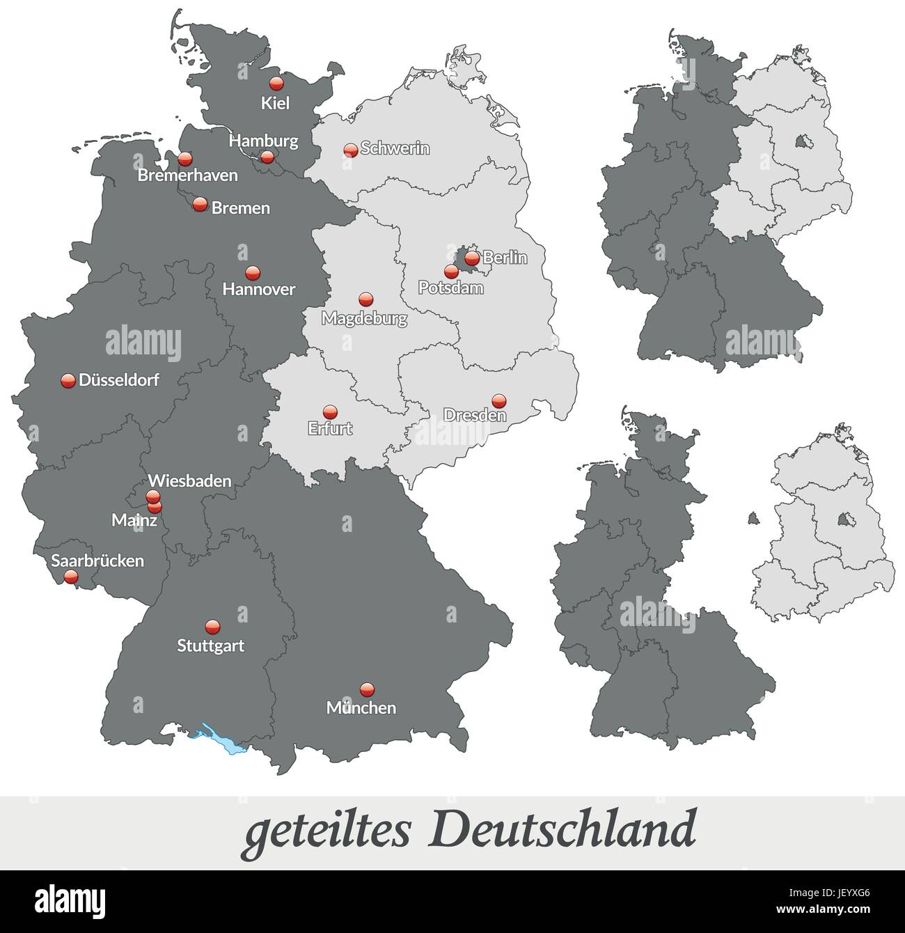 map of divided germany in gray