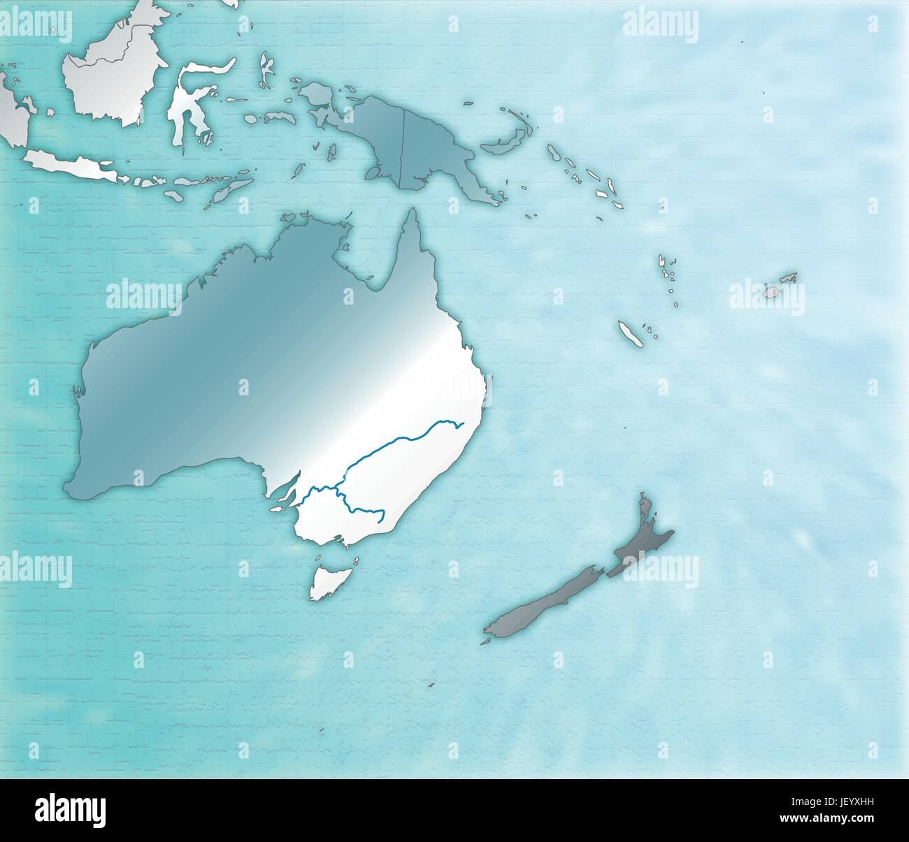 Australia Underwater Map.Map Of Australia As An Overview Map In Blue Stock Vector Art