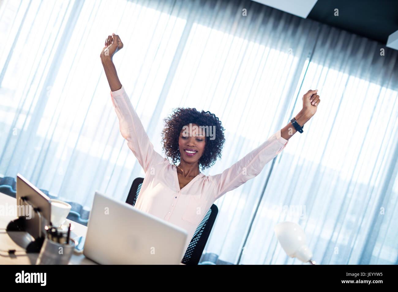 Businesswoman succeeding - Stock Image