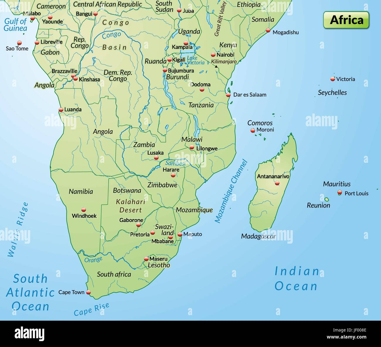 Africa card outline borders atlas map of the world map stock africa card outline borders atlas map of the world map afrikakarte gumiabroncs Images