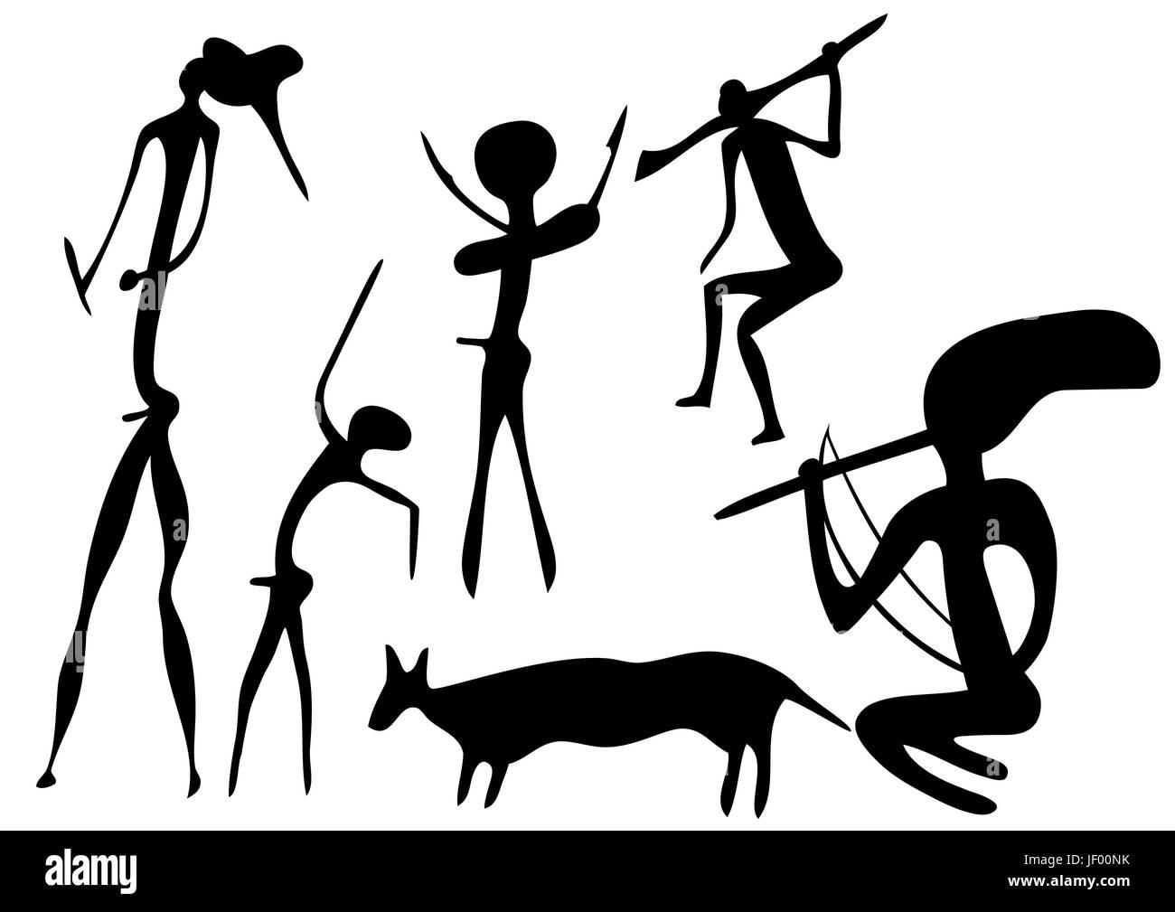 art, primeval, shaman, primitive, vector, design, shaping, formation, shape, - Stock Image