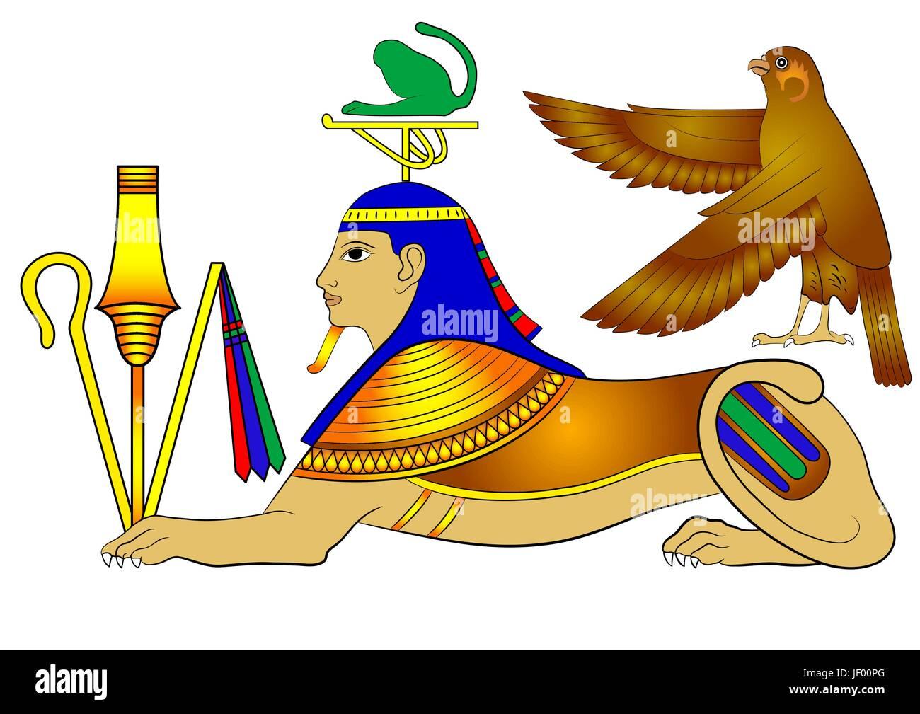 bird, creature, egypt, monster, sphinx, myth, vector, ancient, profile, travel, - Stock Image