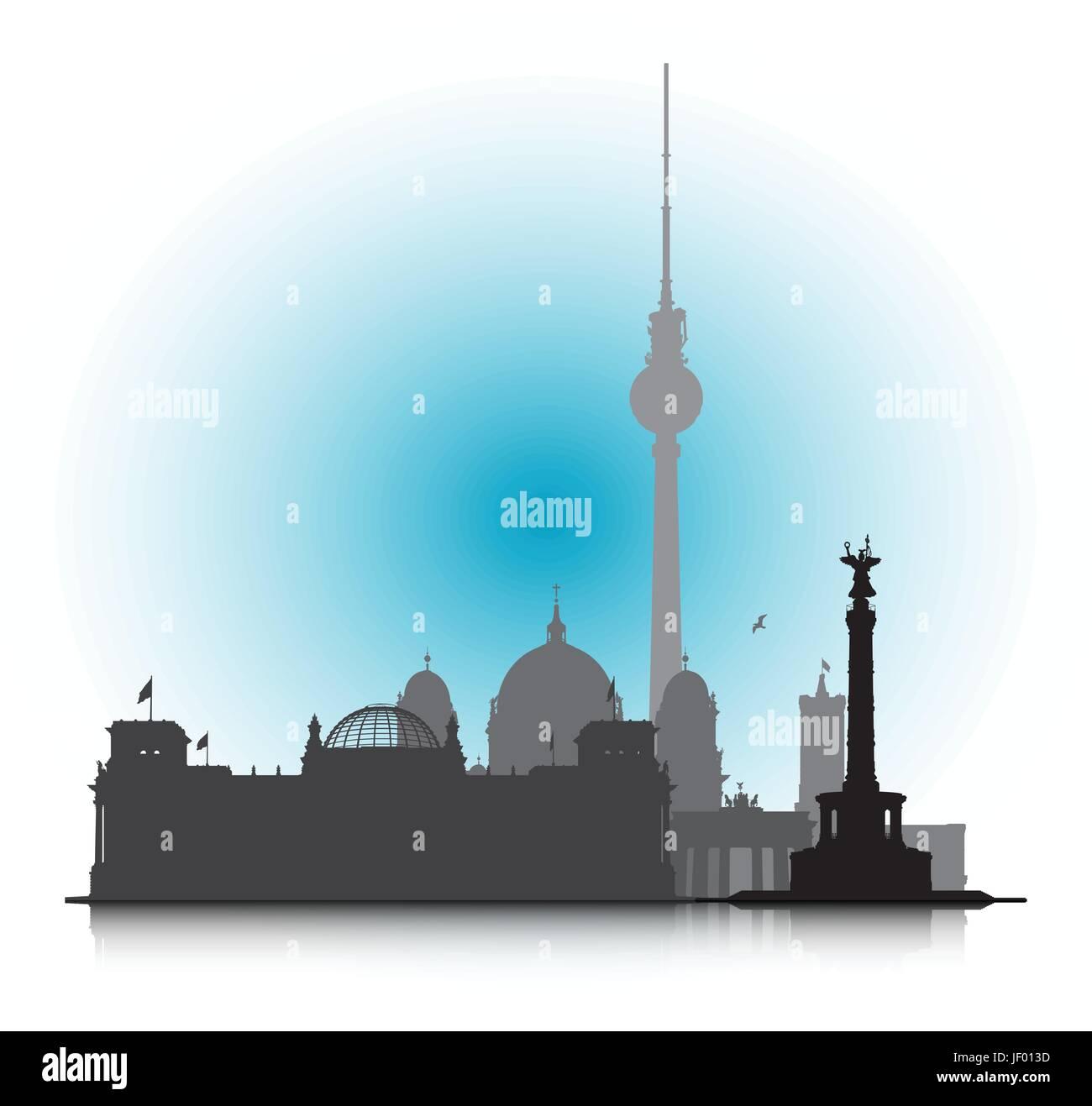 tourism, sightseeing, berlin, capital, skyline, silhouette, emblem, blue, - Stock Vector