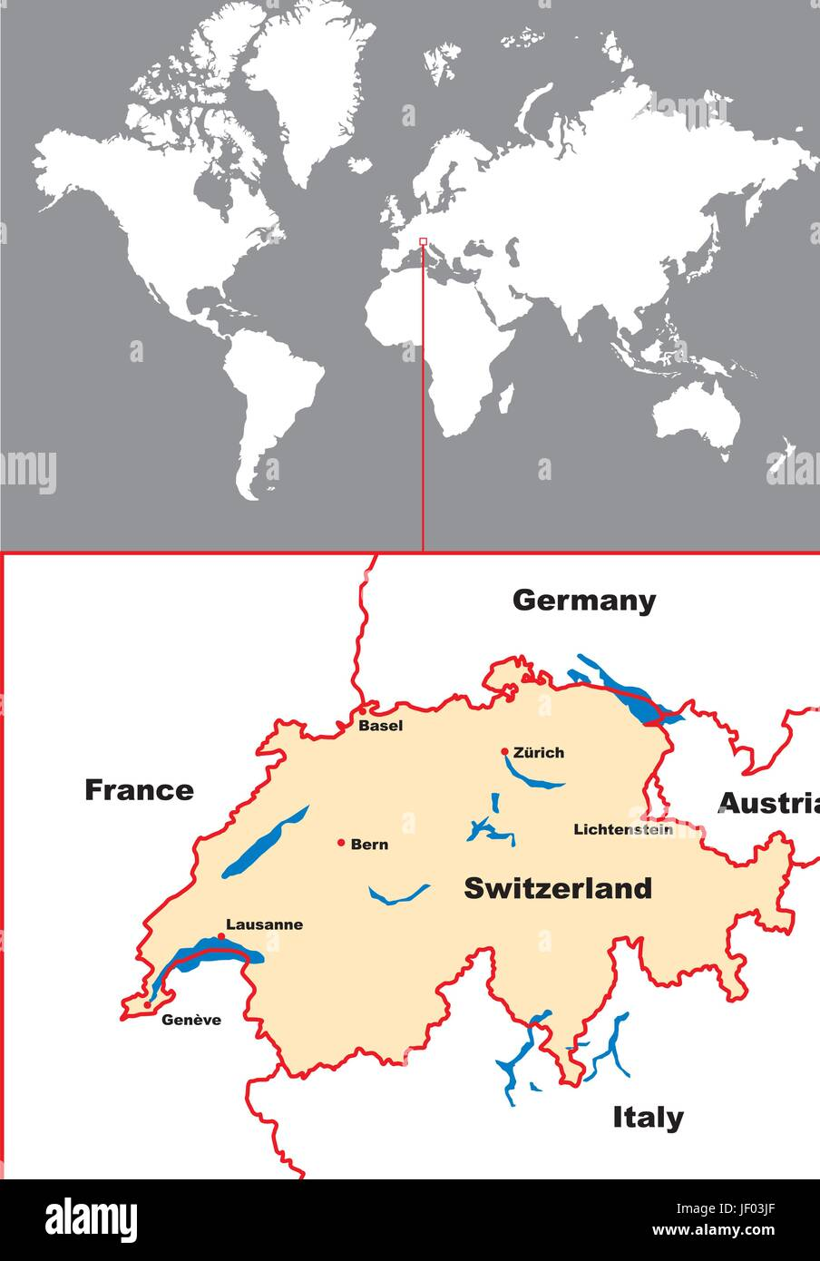 Switzerland Card Atlas Map Of The World Map Euro Europe Stock