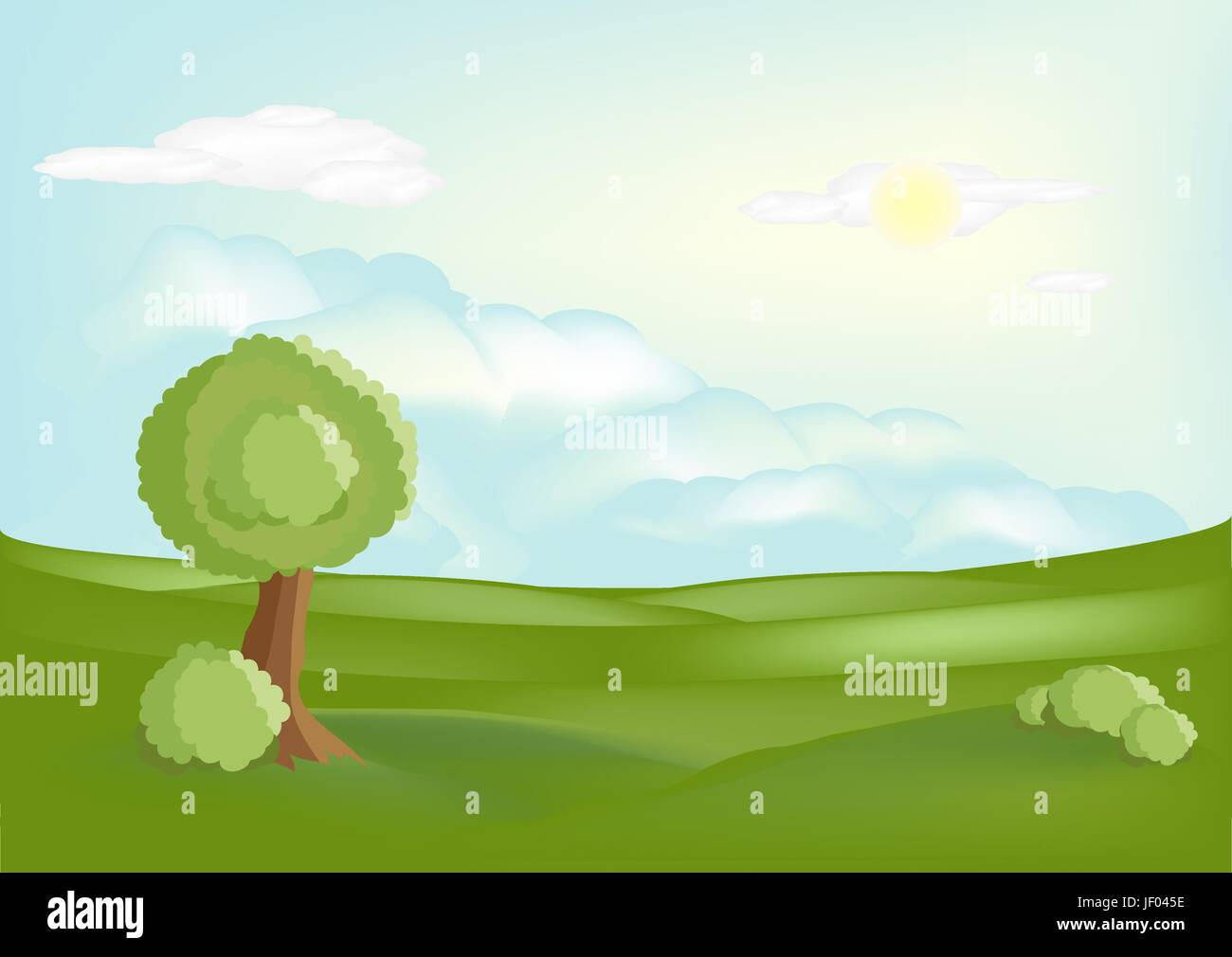 tree, field, summer, summerly, season, landscape, scenery, countryside, nature, - Stock Vector