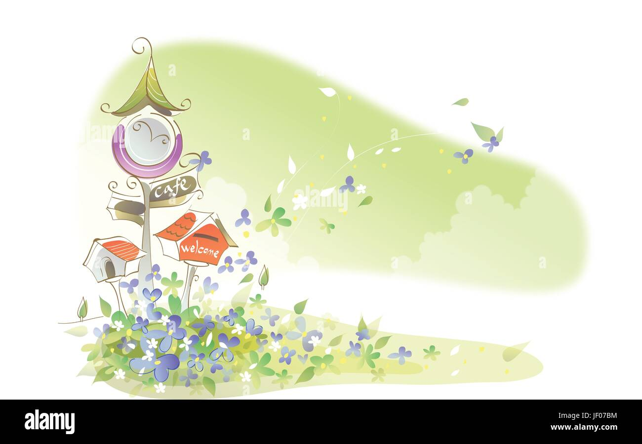 cafe, closeup, flower, flowers, plant, letters, written, illustration, square, - Stock Image