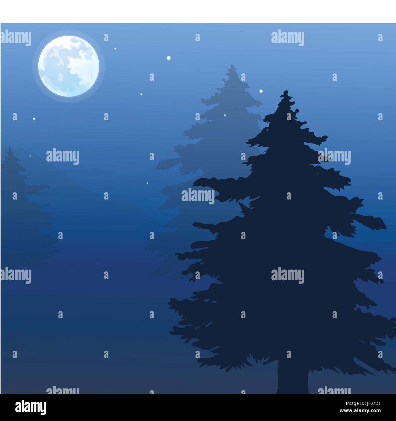closeup, tree, summer, summerly, moon, fir tree, illustration, square, outdoor, - Stock Vector