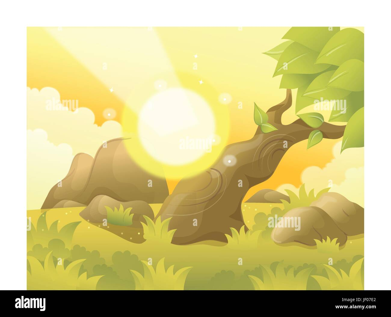 leaf, tree, stone, summer, summerly, sunlight, rock, illustration, square, - Stock Vector