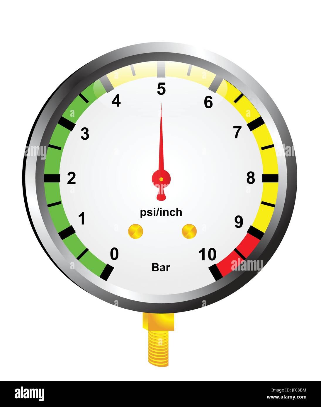 heat, dial, measurement, indicator, air, gage, measure, instrument, method, - Stock Vector