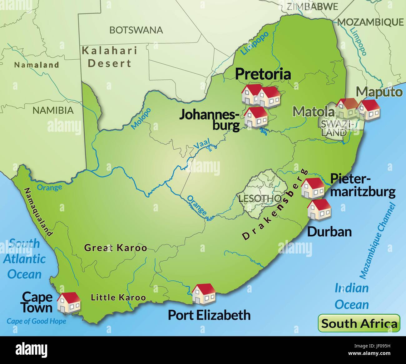South Africa Border Card Synopsis Borders Atlas Map Of The