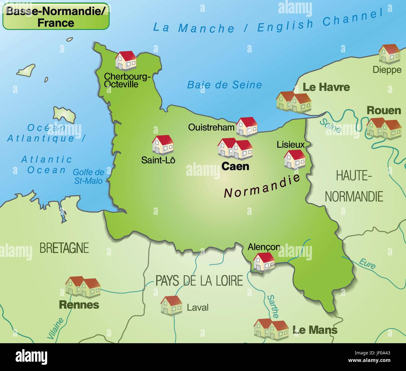 Lower Normandy Map Stock Photos Lower Normandy Map Stock Images