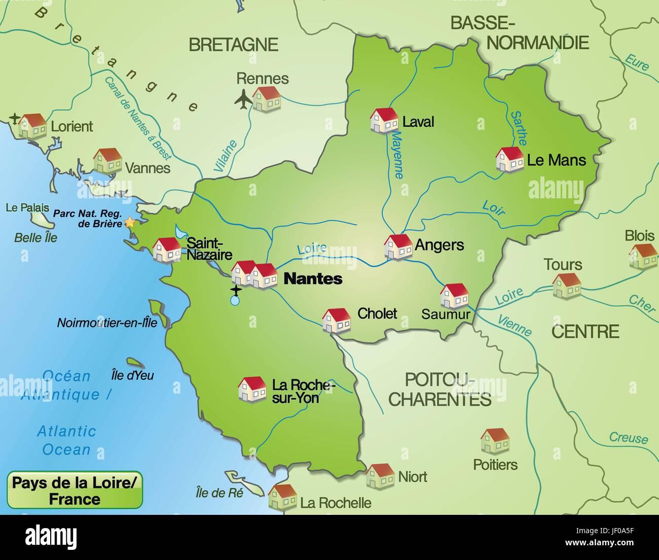 loire karte Pais De La Loire Karte Stock Photos & Pais De La Loire Karte Stock