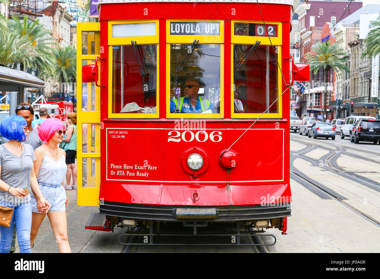 Streetcar Stopping on Canal Street - Stock Image