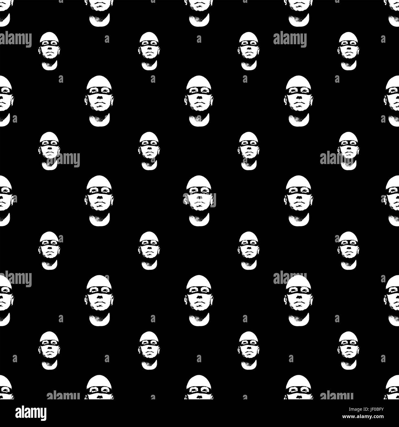 Baldhead Hero Comic Pattern - Stock Image