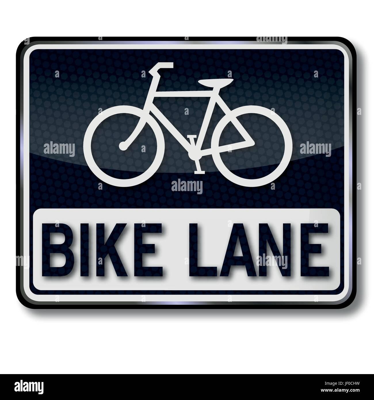 shield bike lane - Stock Image
