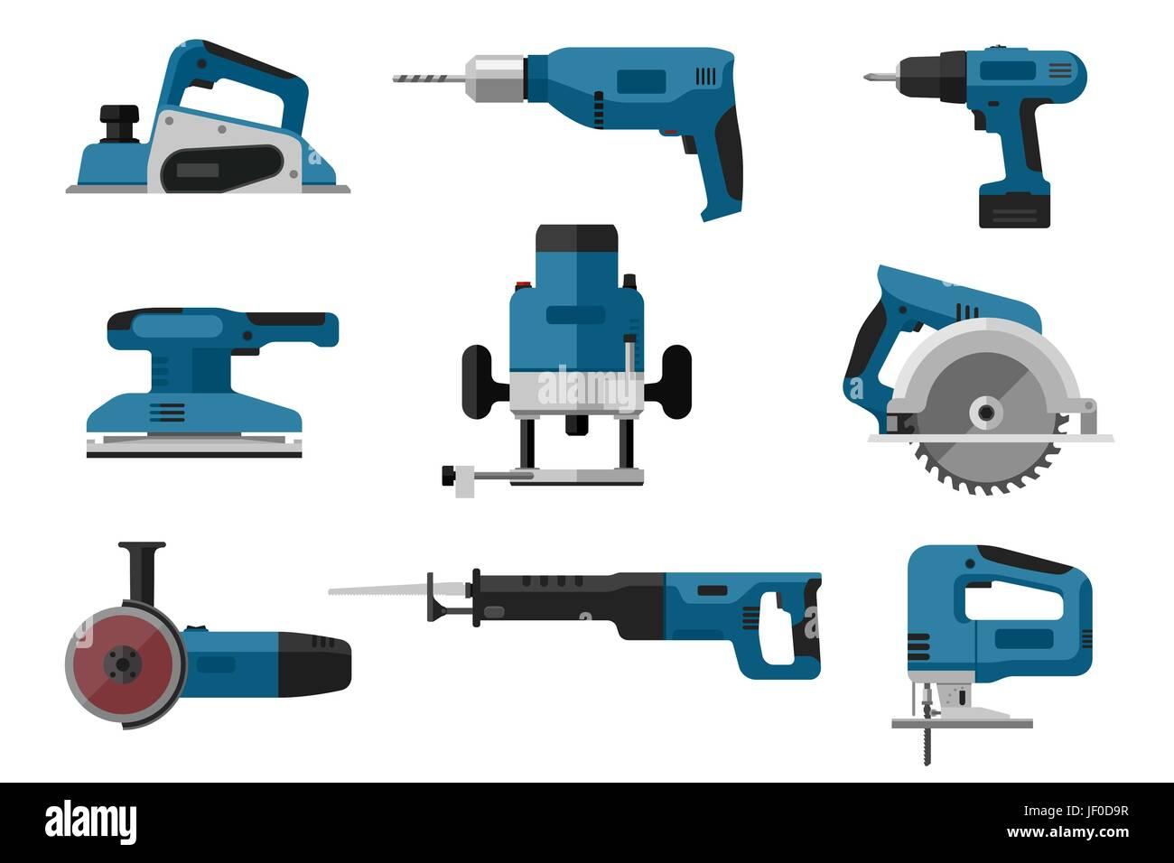 Electric tools set - Stock Vector