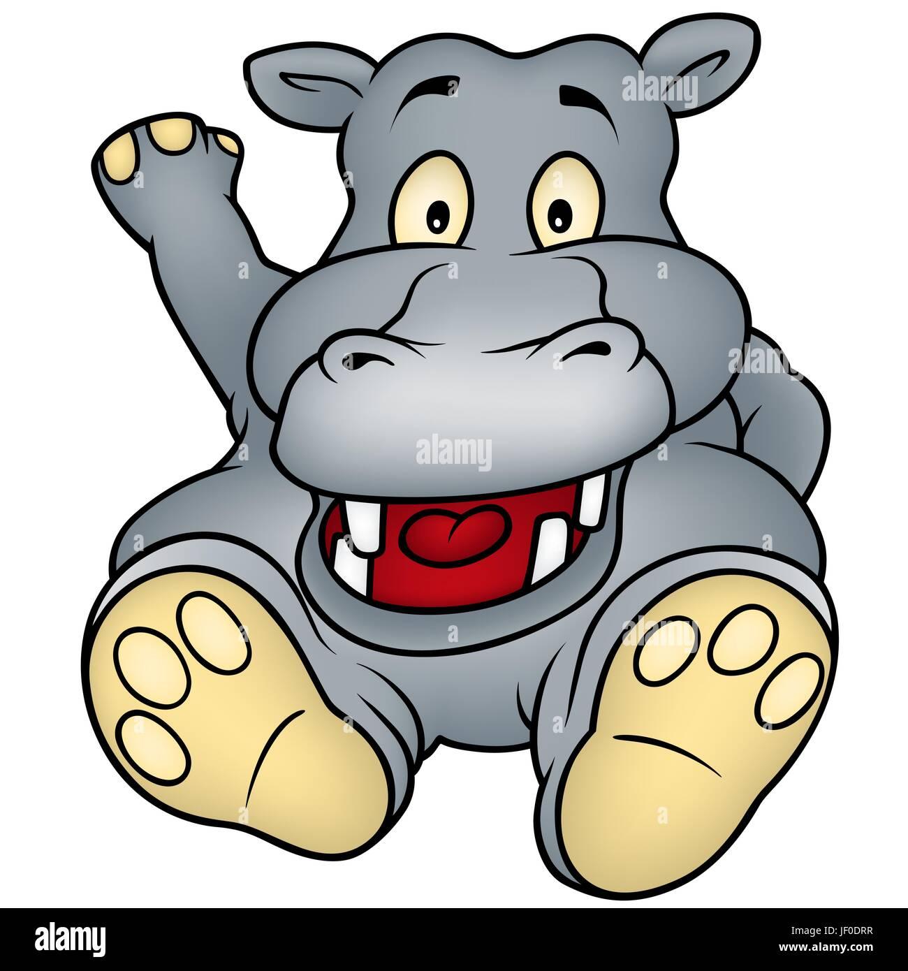 animal, hippopotamus, hippo, cartoon, laugh, laughs ...