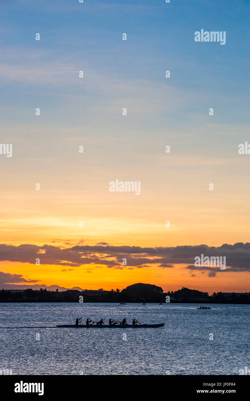 Evening rowing in the bay of Apia, Upolo, Samoa, South Pacific - Stock Image