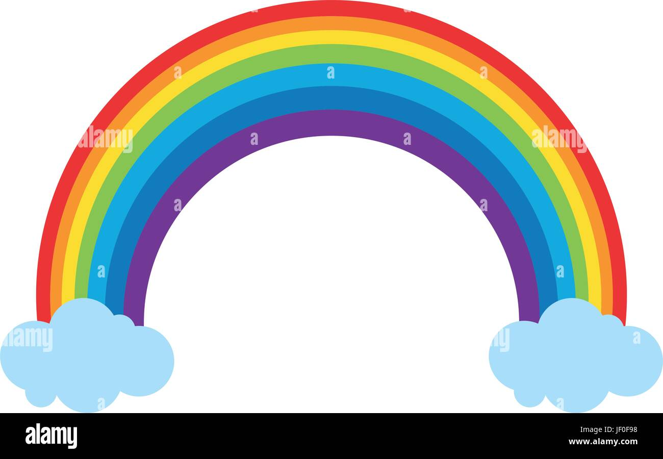 rainbow and clouds icon image  - Stock Image