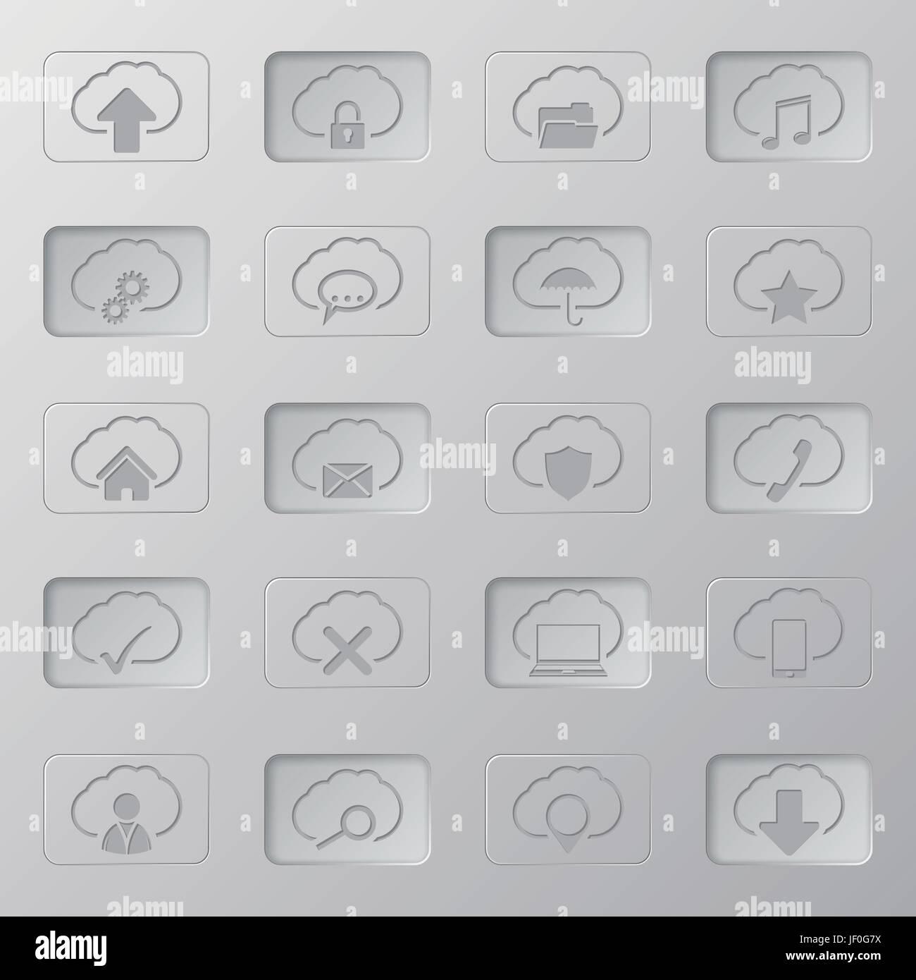 cloud, sign, icon, computers, computer, pictogram, symbol, pictograph, trade Stock Vector