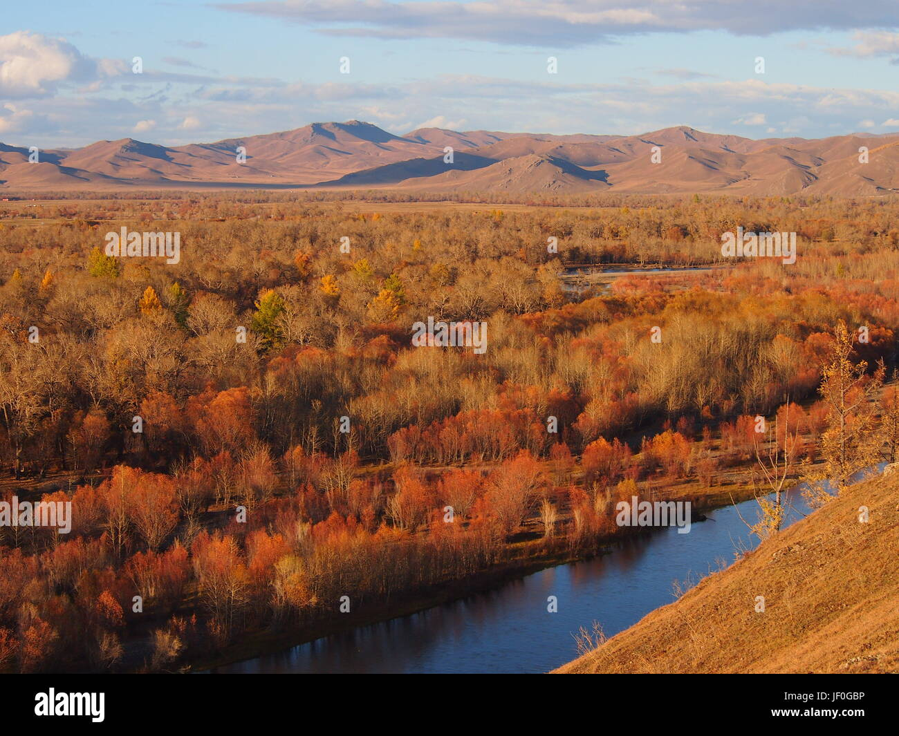 Mongolian landscape and river in Autumn colours - Stock Image