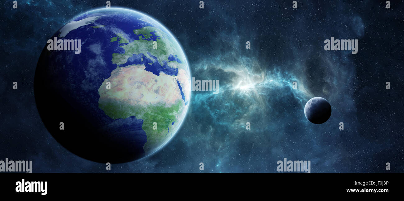View of the planet Earth from space during a sunrise 3D rendering elements of this image furnished by NASA - Stock Image