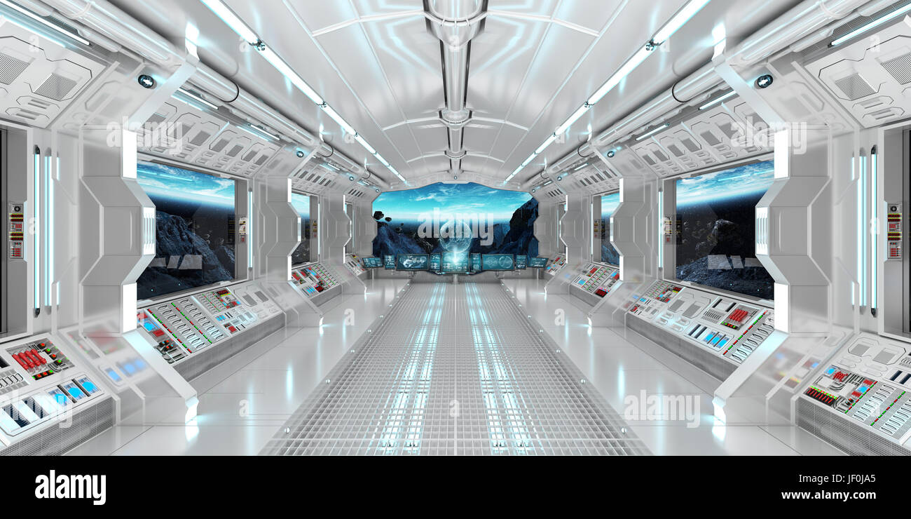 Bon Spaceship Interior With View On Space And Planet Earth 3D Rendering  Elements Of This Image Furnished