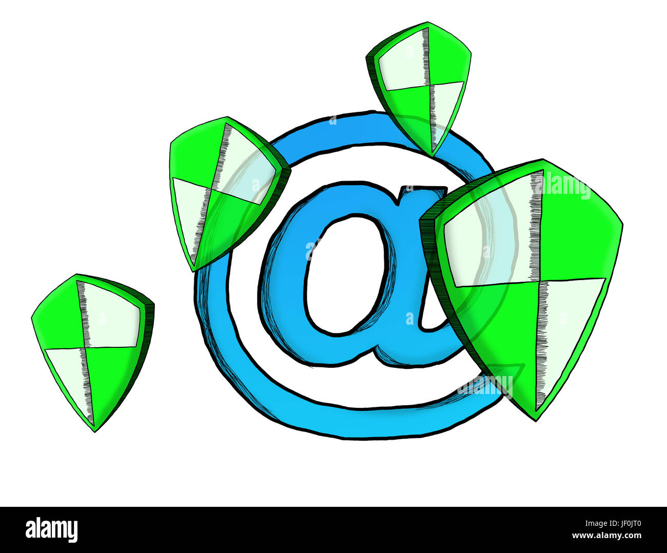 Hand-drawn antivirus system sketch on white background - Stock Image