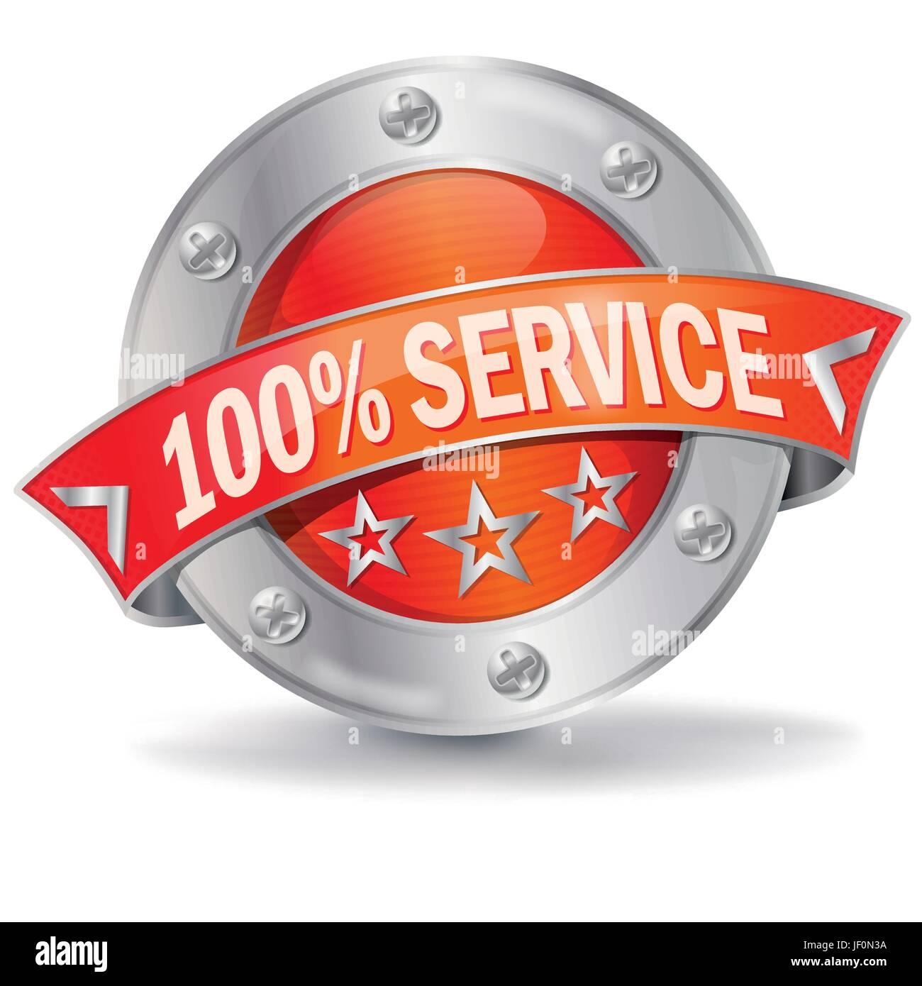 button 100% service - Stock Vector