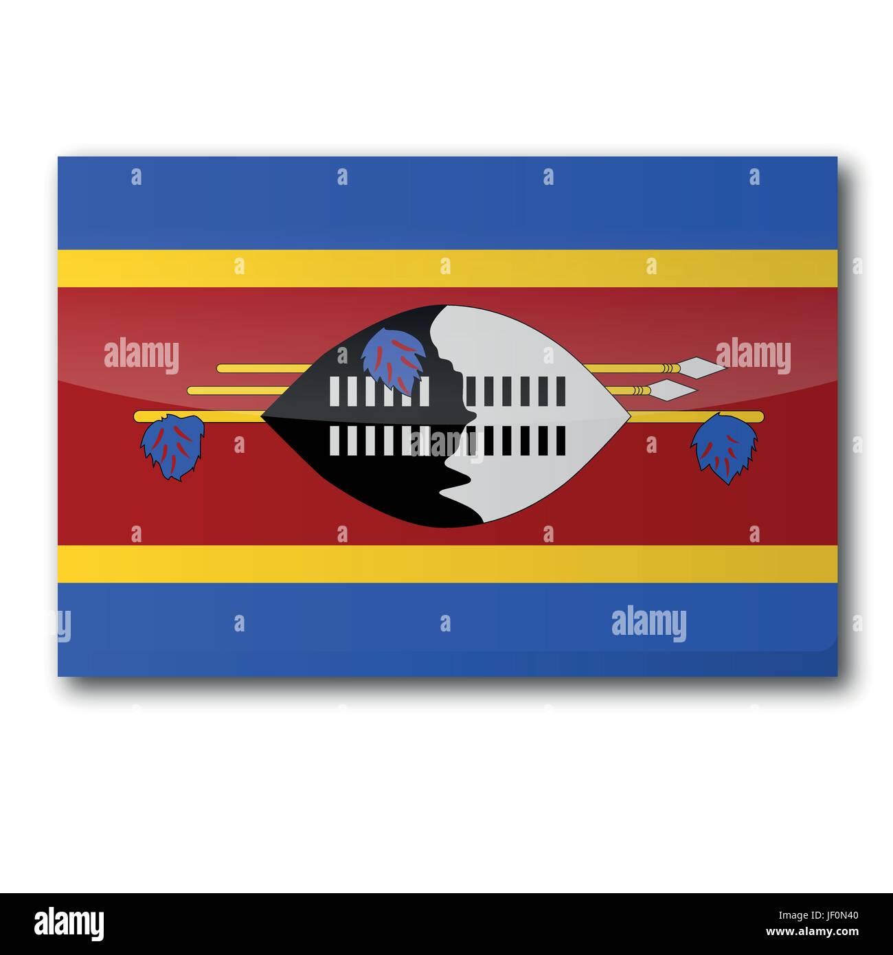 africa, monarchy, swaziland, social, africa, flag, border, button, card, area, - Stock Vector