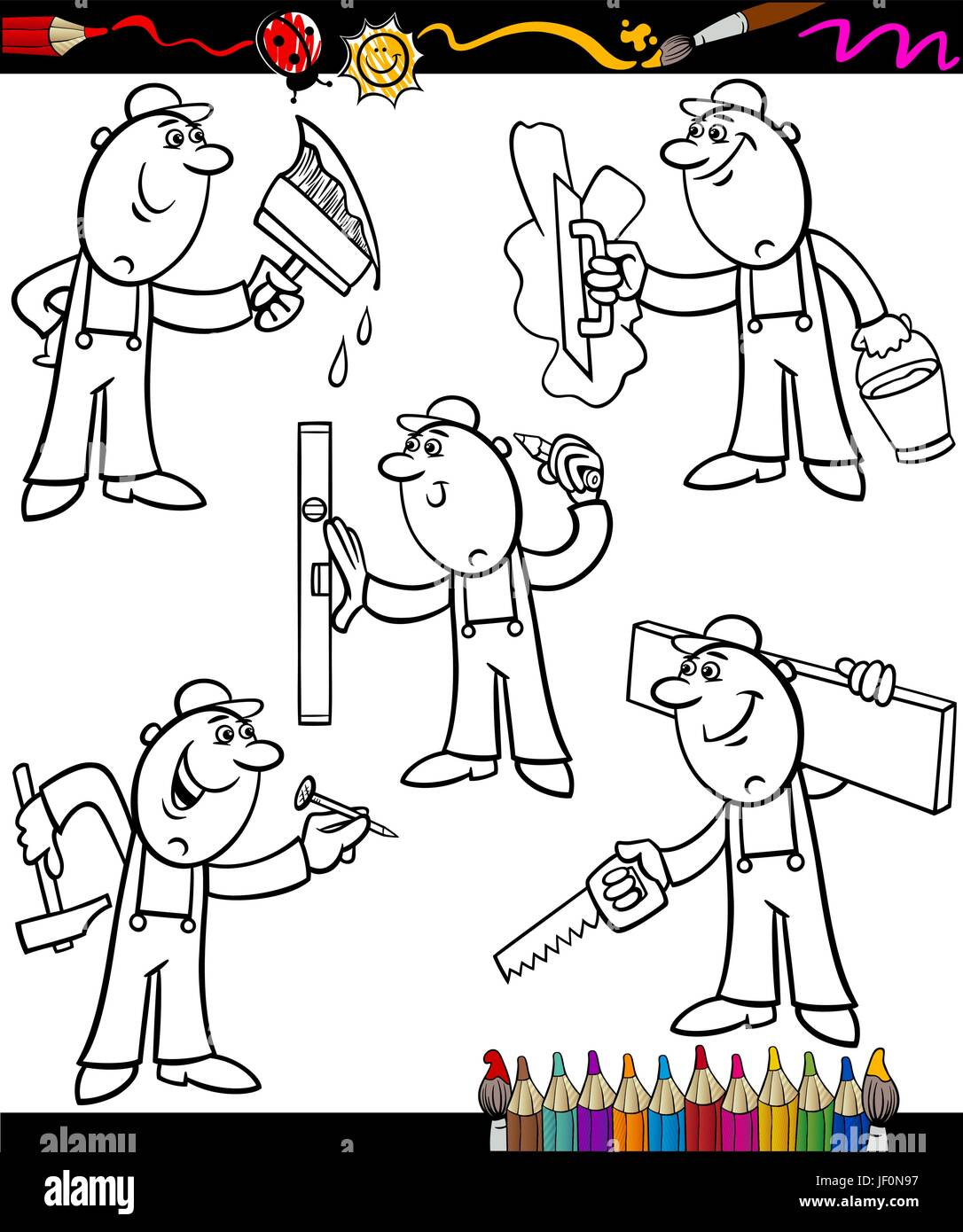 illustration, page, bookpage, cartoon, builder, book, workers, laborer, worker, Stock Vector