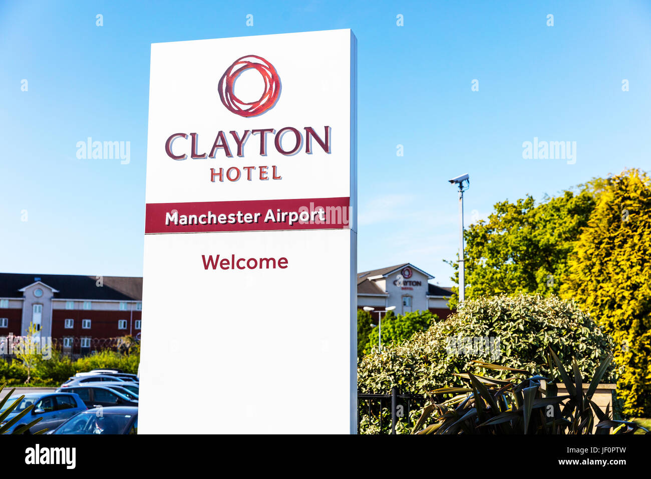Clayton Hotel Manchester airport, Clayton Hotel, Manchester airport hotels, Manchester airport hotel, welcome sign, - Stock Image
