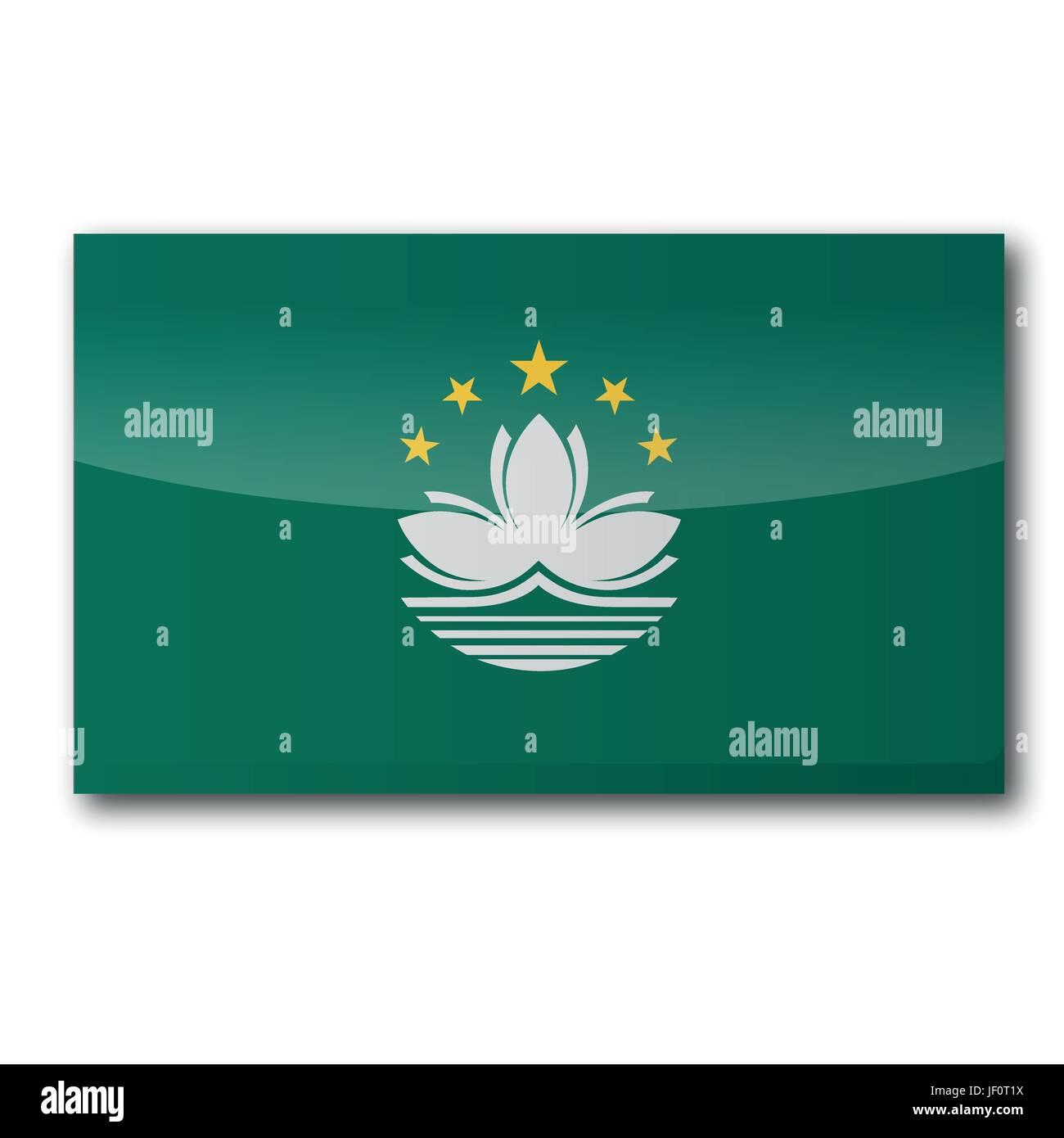 asia, chinese, portuguese, macau, asia, colony, flag, border, button, lotus, - Stock Vector