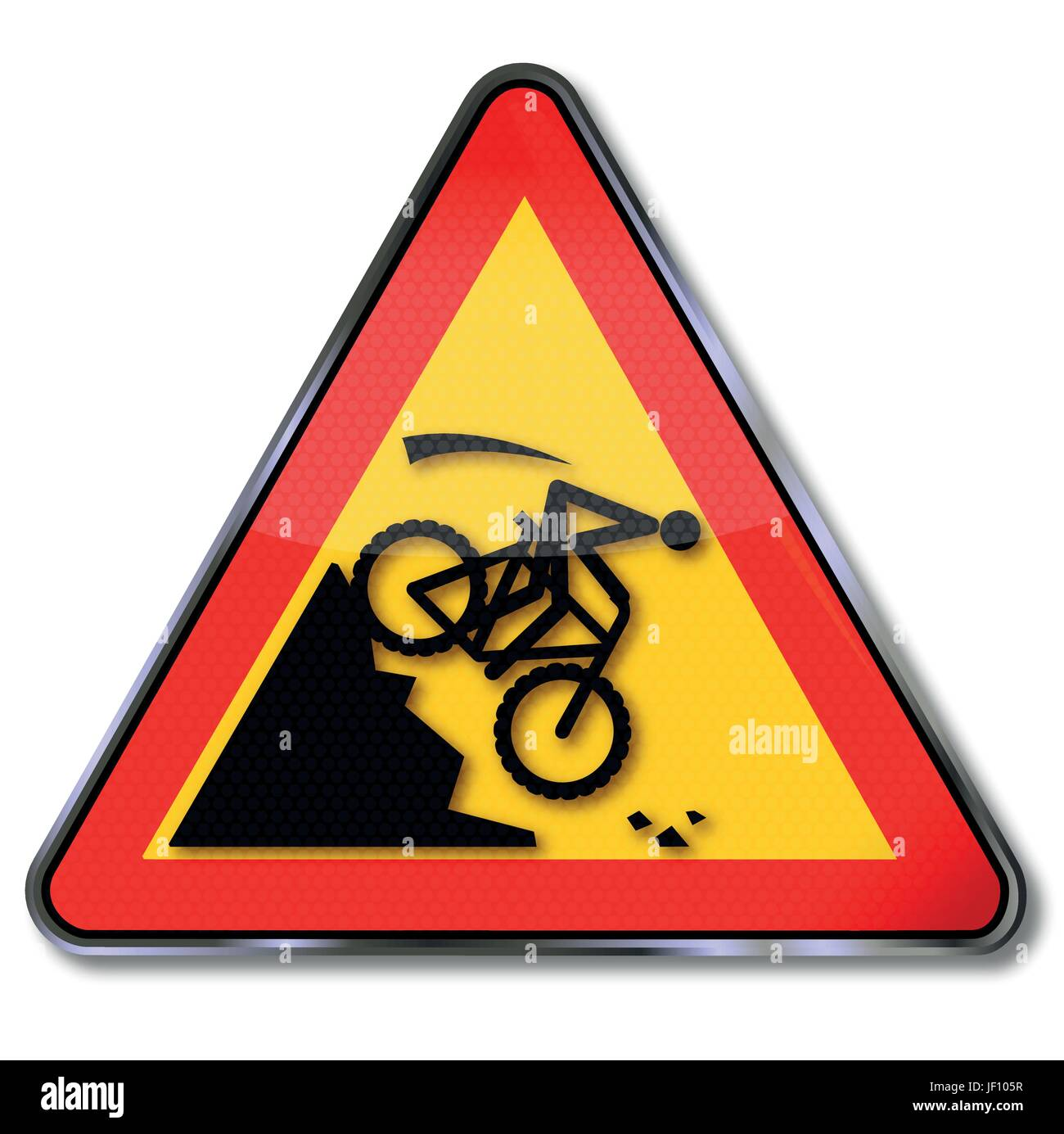 sign attention crash on the slope on a mountain bike - Stock Image