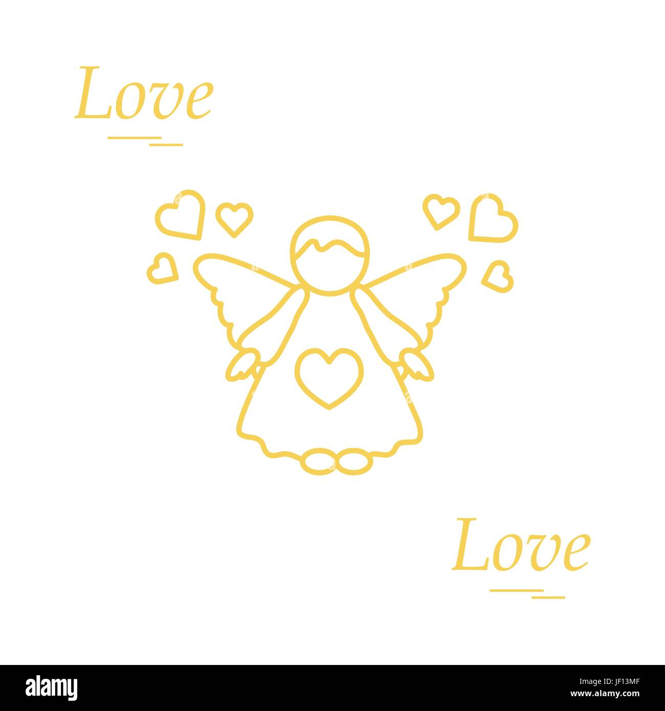 Cute Vector Illustration Angel And Hearts Love Symbol Design For Banner Flyer